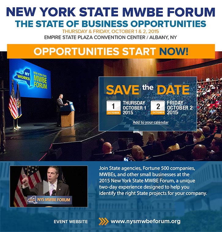 NYS MWBE Forum, October 1 and 2, 2015.