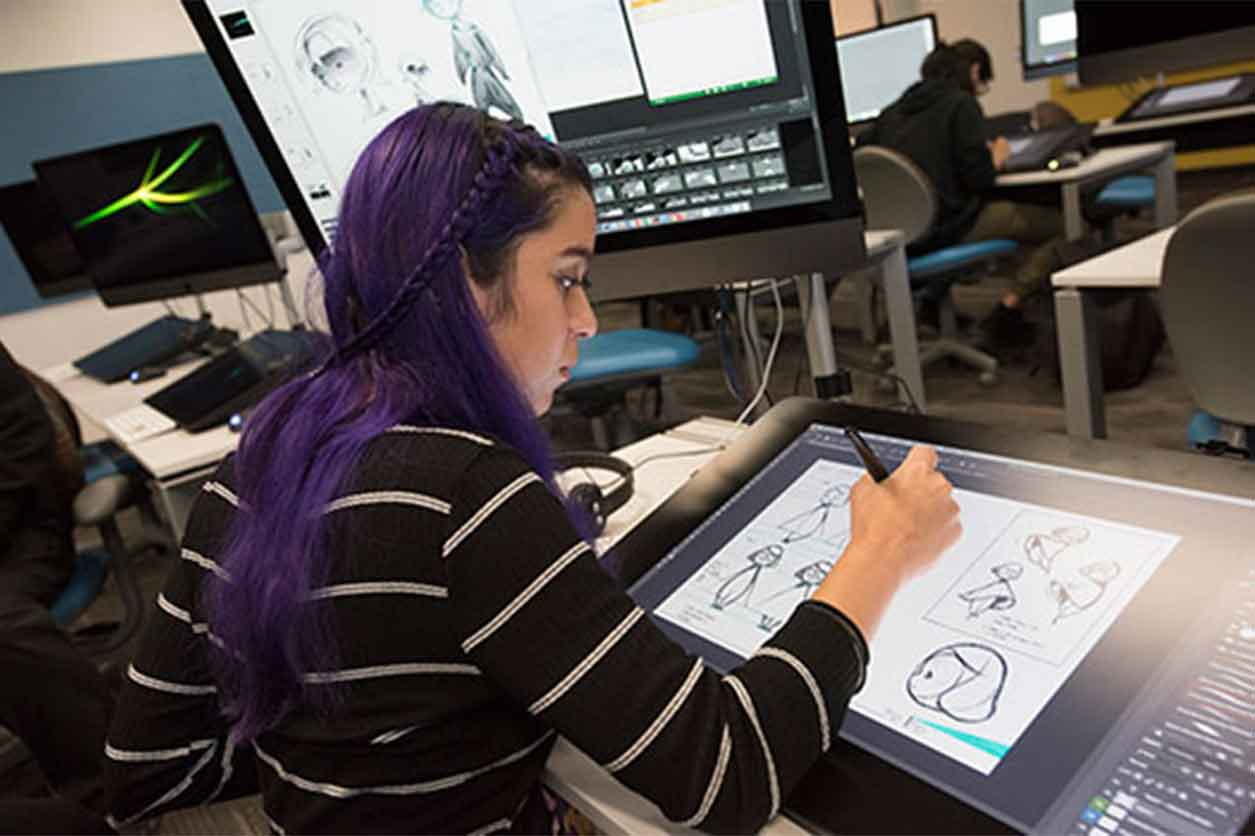 Student working in Rochester Institute of Technology's 2D animation lab.
