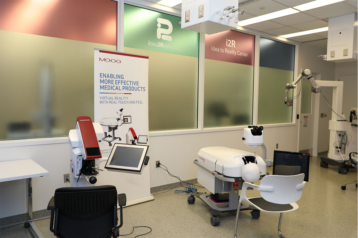 A Simodont dental trainer and Help Me See eye surgery simulator at the Jacobs Institute's i2R.