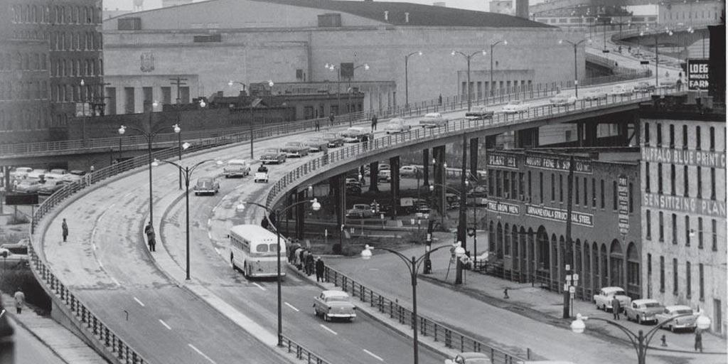Historic image of the Skyway in Buffalo, NY.