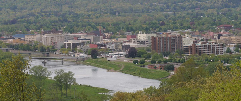 Aerial shot of Elmira,NY