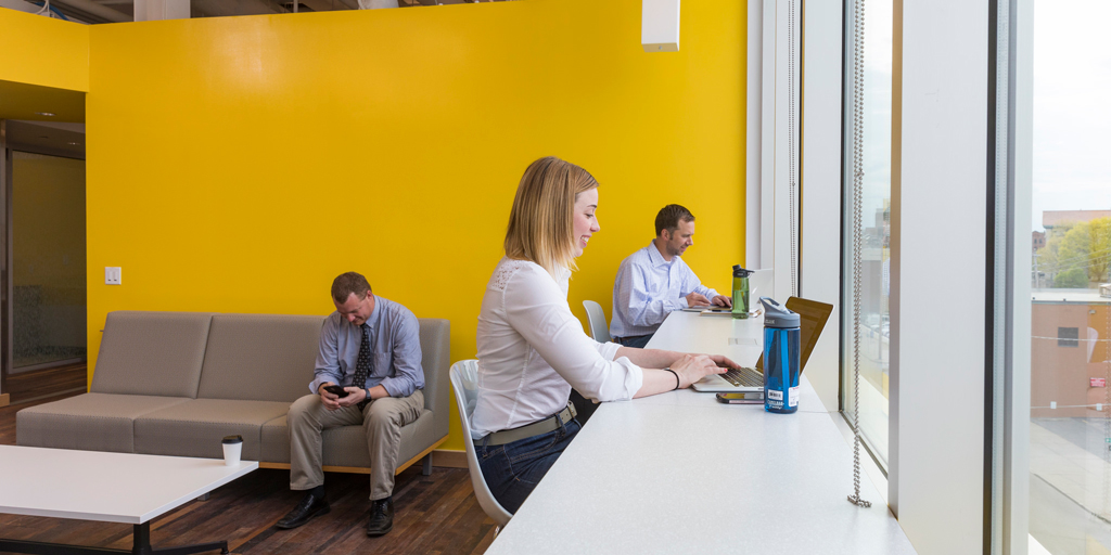 Co-working space in the Koffman Southern Tier High Technology Incubator in Binghanton, NY.