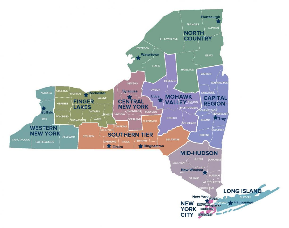 Map of New York State's Regions