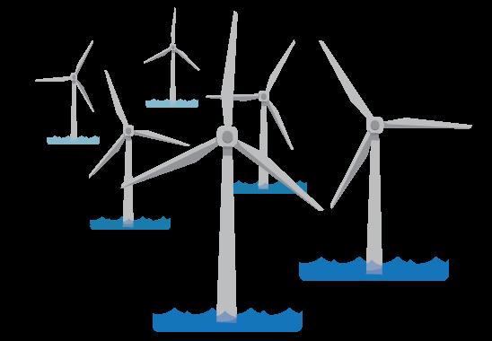 illustration of offshore wind turbines