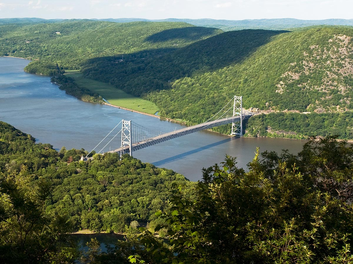 Aerial view of Bear Mountain Bridge