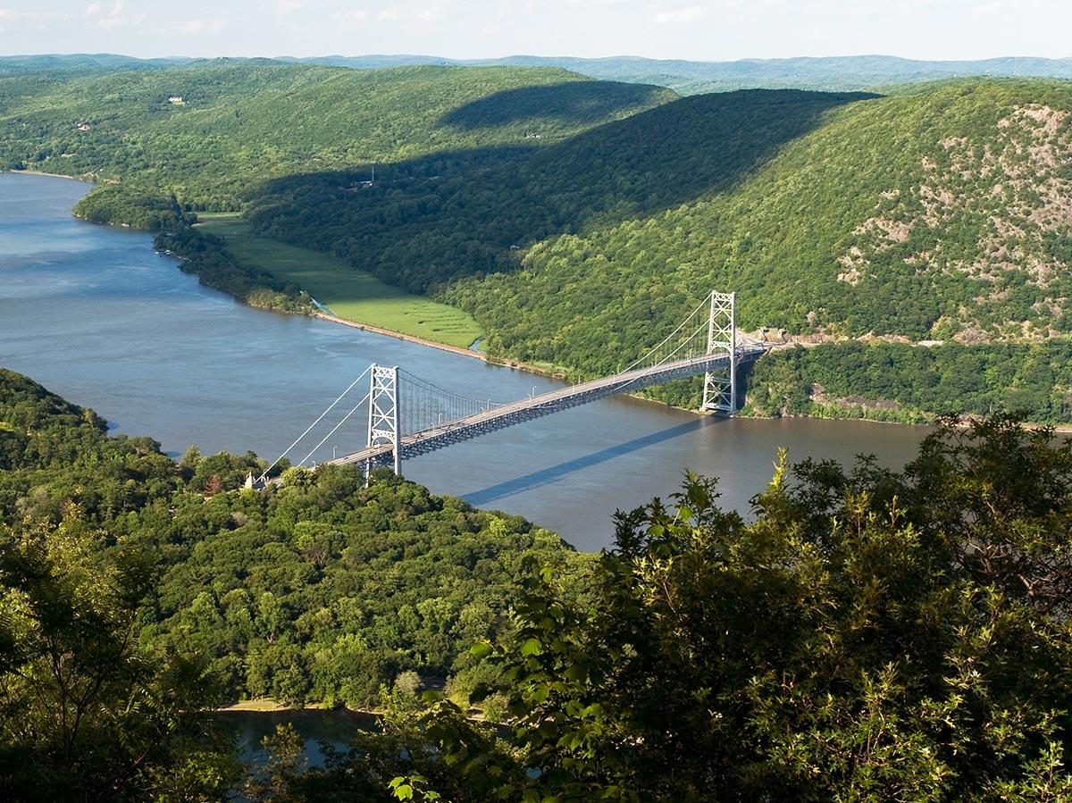 Aerial view of Bear Mountain Bridge